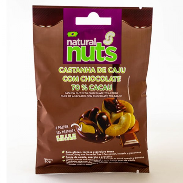 Cashew Nuts with Chocolate 70 Cocoa Bag 50g