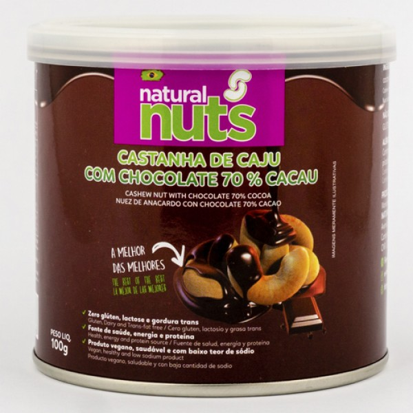 Cashew Nut with Chocolate 70% Cacao Can 100g