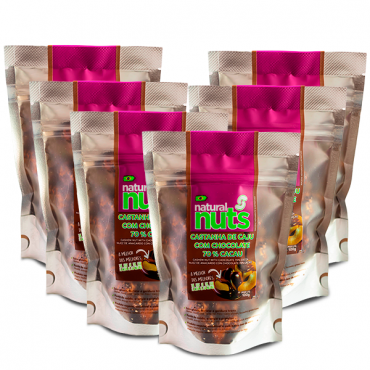 Kit 6x Cashew Nut with Chocolate 70% Cocoa Ziplock 100g