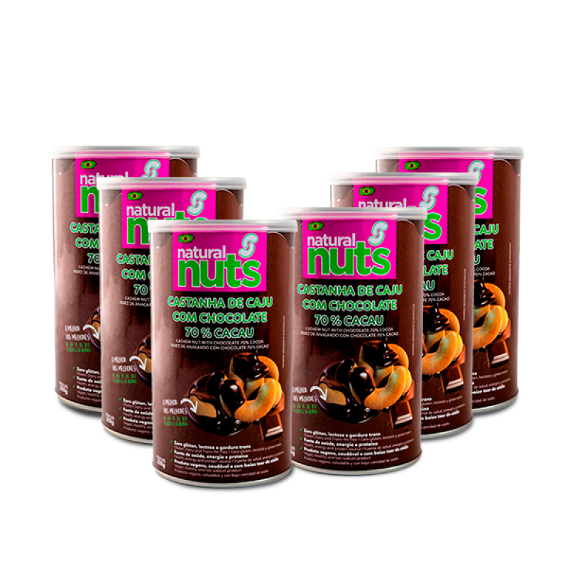 Kit 6x Cans 200g Cashew Nut with Chocolate 70% Cocoa
